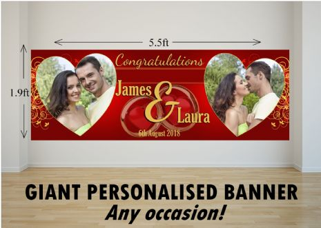 Personalised GIANT Large Congratulations Wedding Engagement Anniversary PHOTO Poster Banner N76